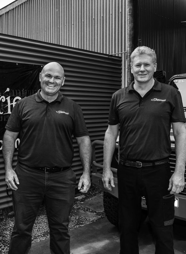 Ben and Andrew standing in front of the 4WD Industries workshop